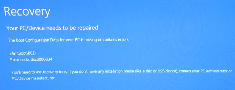 Windows 10 Pro recovery repaired boot error