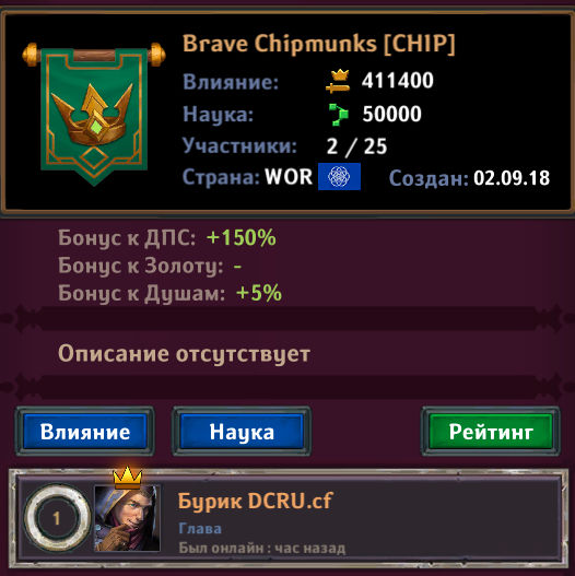 Brave Chipmunks клан Крушители подземелий
